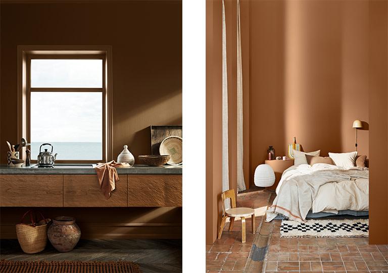 Med en samlende og sosial palett av varme, rustikke farger, får du et interiør med en jordnær og lun atmosfære.